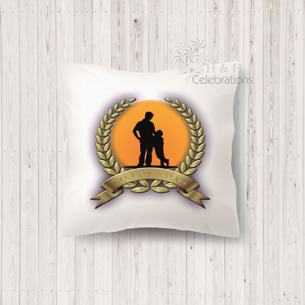 No 1 Stepdad And Son Laurel Silhouette Personalised Cushion